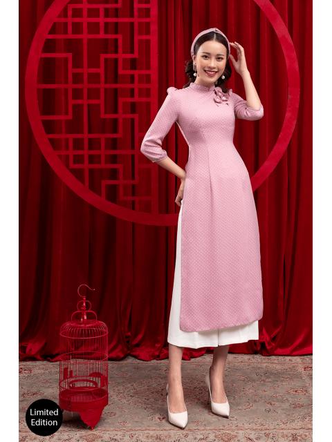 Áo dài B987-439F chấm bi hồng