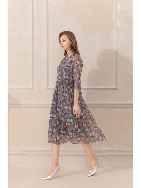 Đầm lụa B9DRE501G ghi