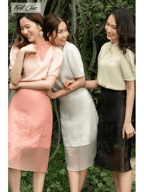 Chân váy A917-090I hồng/ trắng/ đen