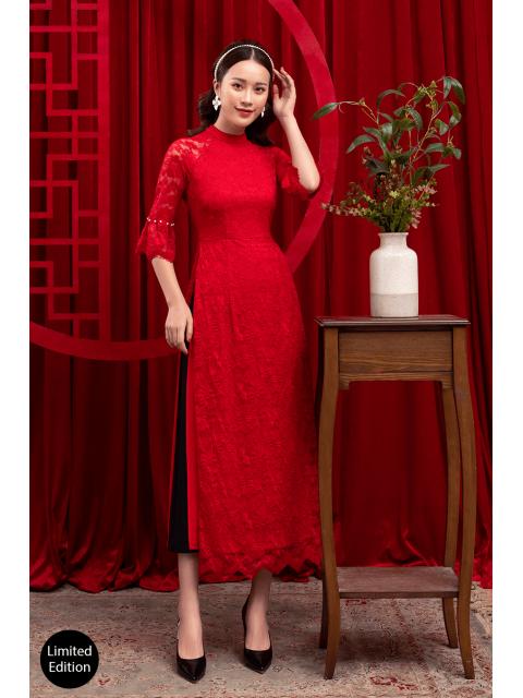 Áo dài B987-433F đỏ