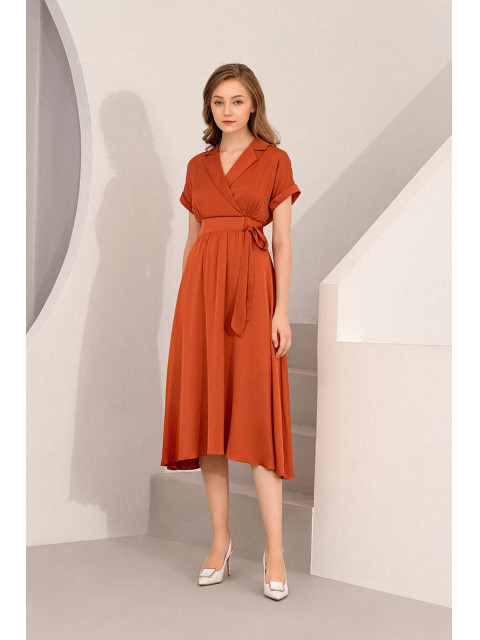Đầm lụa B9DRE201G cam