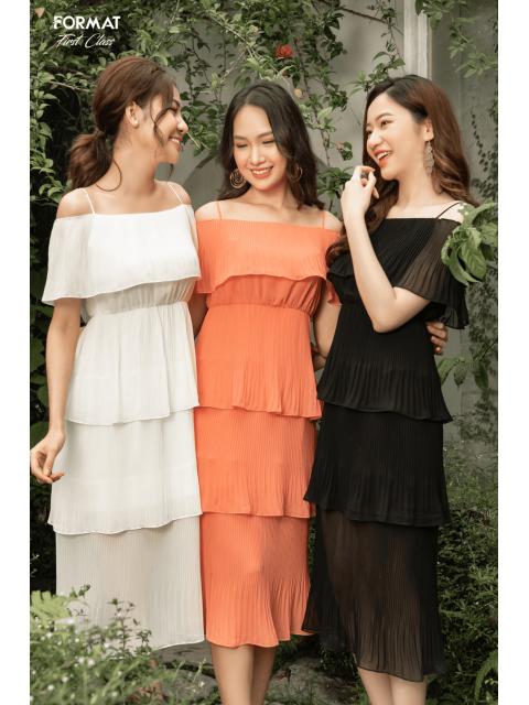 Đầm A993-570I đen/ trắng/ cam