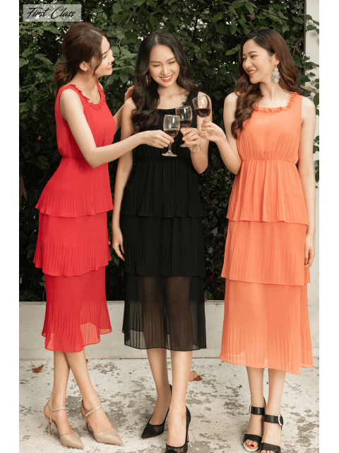 Đầm A990-573I đen/ đỏ/ cam