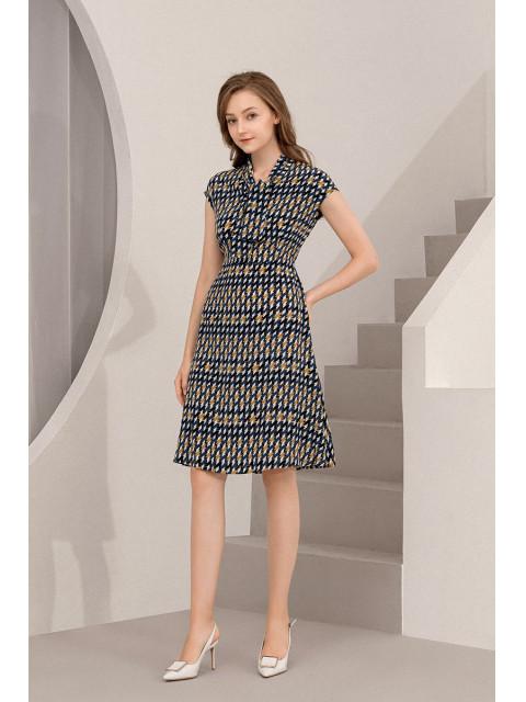 Đầm lụa B9DRE015G xanh tím than