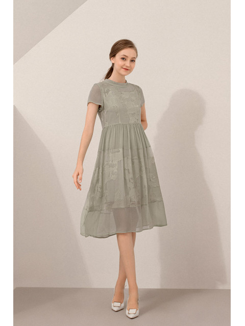 Đầm lụa B9DRE808G xanh lá cây