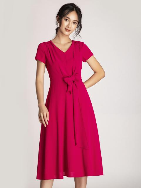 Đầm B993-126E hồng đậm