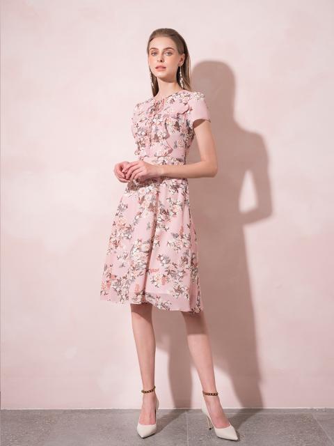 Đầm B993-485G hoa nền hồng