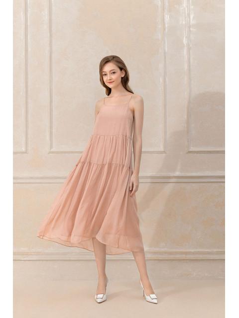 Đầm lụa B9DRE011G hồng