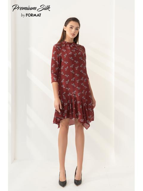 Đầm lụa B9DRE300I hoa nền đỏ
