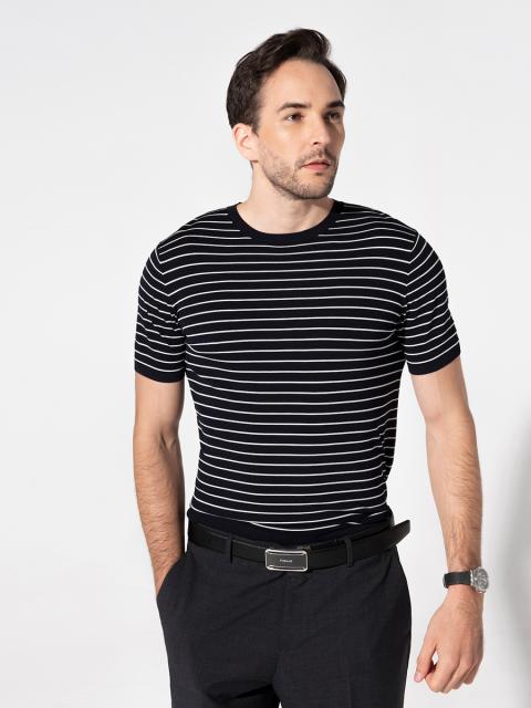 Áo T-shirt nam B7TSH002G xanh tím than