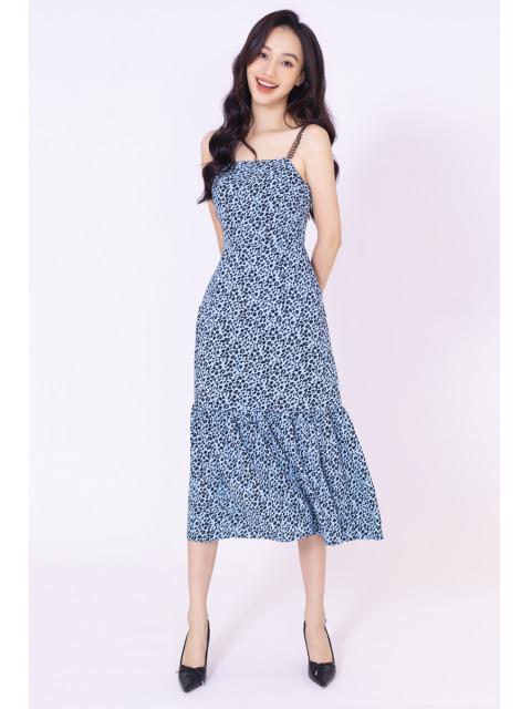 Đầm A990-444G họa tiết xanh