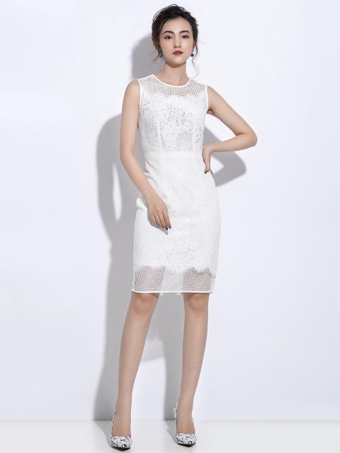 Đầm B990-075C trắng