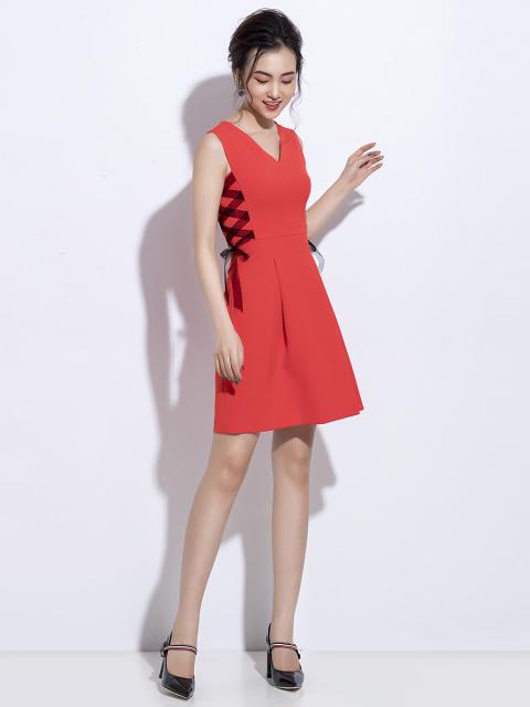 Đầm B990-190C đỏ cam