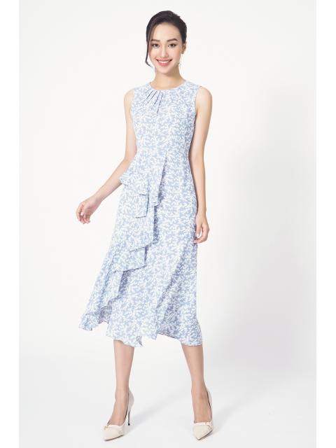 Đầm B990-571G họa tiết xanh