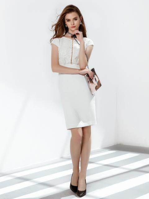 Đầm B993-051E trắng