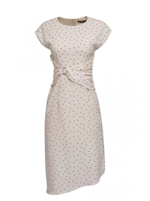 Đầm B993-830I họa tiết trắng ngà
