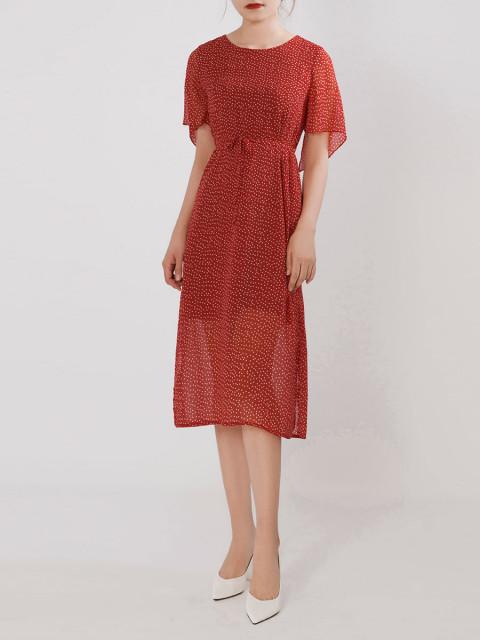 Đầm B995-572G chấm bi nền đỏ
