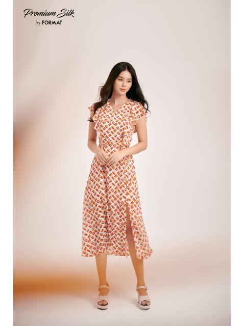 Đầm B9DRE002I hoạ tiết nền cam