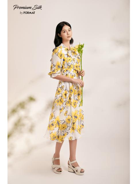 Đầm B9DRE304I hoa vàng nền trắng