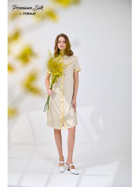 Đầm B9DRE306I họa tiết nền trắng