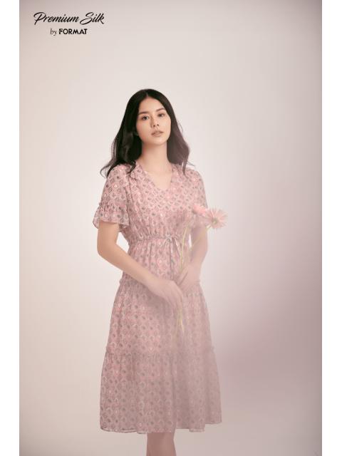 Đầm B9DRE311I hoạ tiết nền hồng