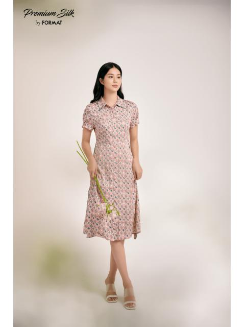 Đầm B9DRE312I hoạ tiết nền hồng