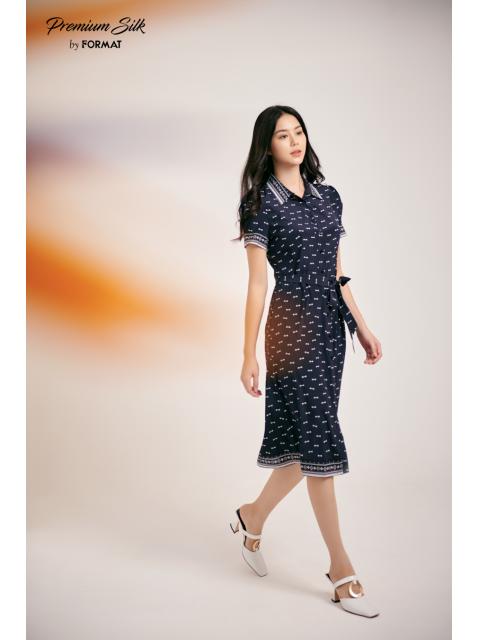 Đầm B9DRE317I nơ trắng nền xanh